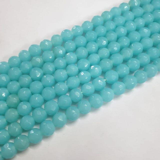 Jade agate faceted aqua strand, 43+ beads, 14-15 inch, 2 lines, 8mm