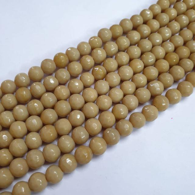 Jade agate faceted light brown strand, 43+ beads, 14-15 inch, 2 lines, 8mm