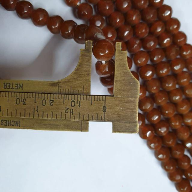 Jade agate faceted dark brown strand, 43+ beads, 14-15 inch, 2 lines, 8mm