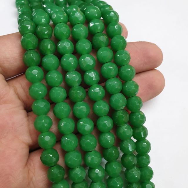 Jade agate faceted green strand, 43+ beads, 14-15 inch, 2 lines, 8mm