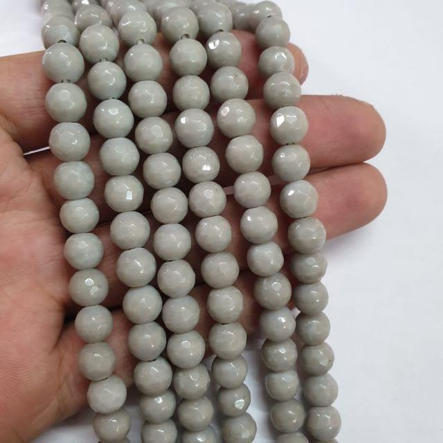Jade agate faceted grey strand, 43+ beads, 14-15 inch, 2 lines, 8mm