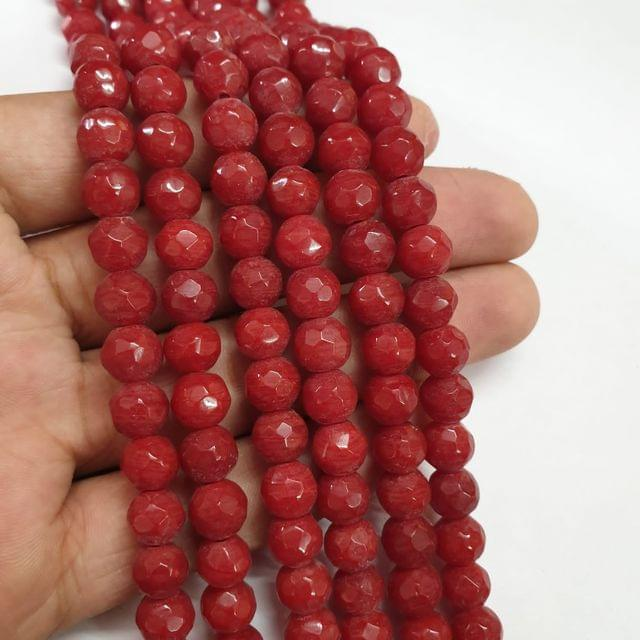 Jade agate faceted red strand, 43+ beads, 14-15 inch, 2 lines, 8mm