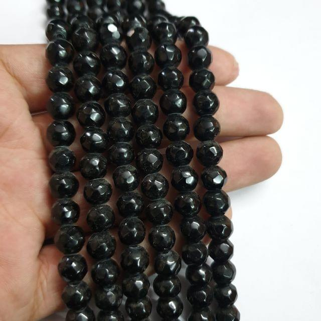 Jade agate faceted black strand, 43+ beads, 14-15 inch, 2 lines, 8mm