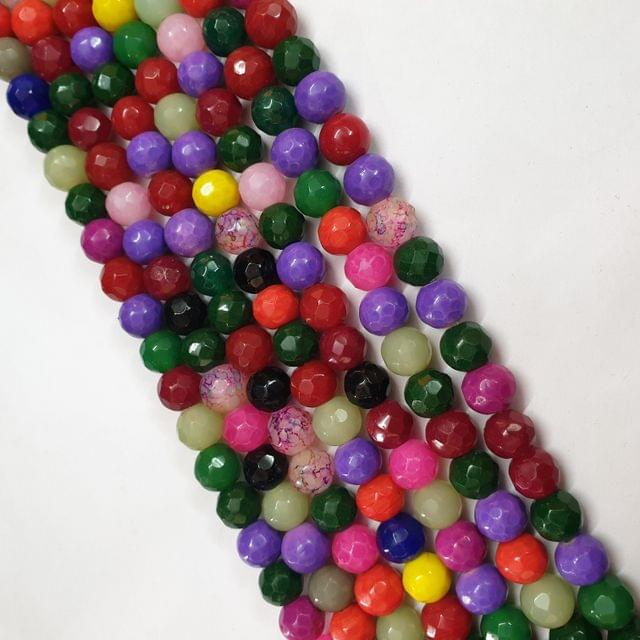 Jade agate faceted multicolor strand, 32+ beads, 14-15 inch, 2 lines, 10mm