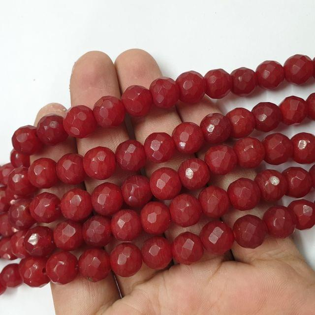 Jade agate faceted red strand, 32+ beads, 14-15 inch, 2 lines, 10mm