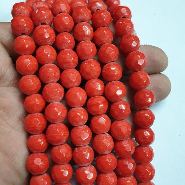Jade agate faceted orange strand, 32+ beads, 14-15 inch, 2 lines, 10mm