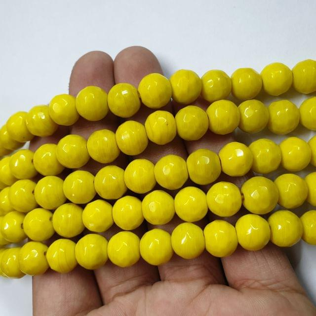 Jade agate faceted yellow strand, 32+ beads, 14-15 inch, 2 lines, 10mm