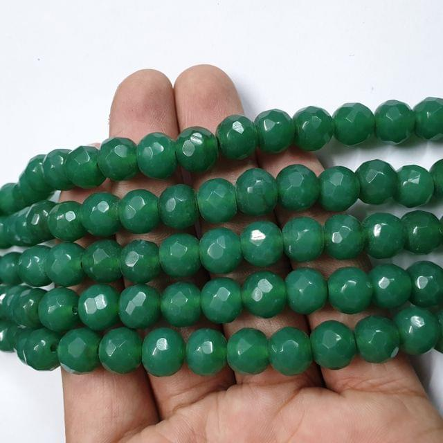Jade agate faceted dark green strand, 32+ beads, 14-15 inch, 2 lines, 10mm
