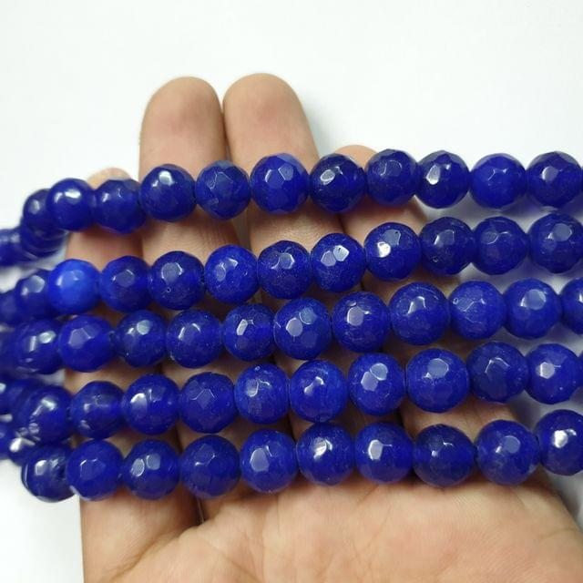Jade agate faceted dark blue strand, 32+ beads, 14-15 inch, 2 lines, 10mm