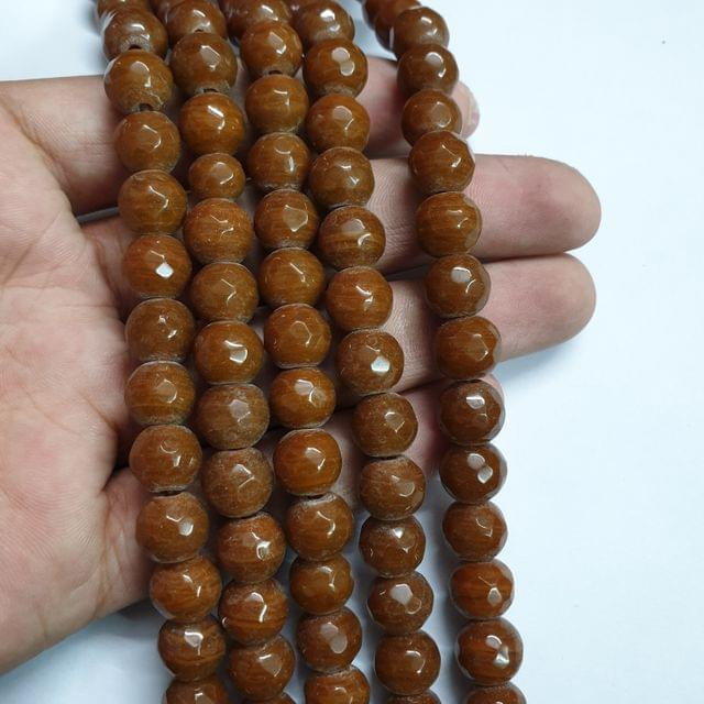 Jade agate faceted brown strand, 32+ beads, 14-15 inch, 2 lines, 10mm