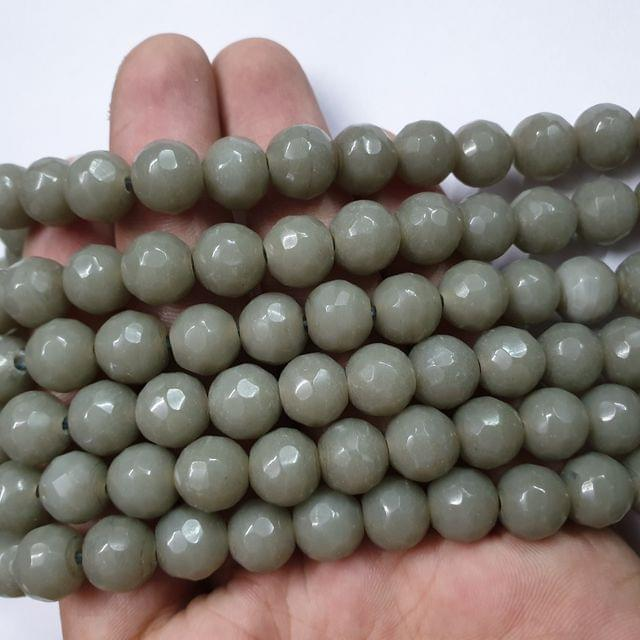 Jade agate faceted grey strand, 32+ beads, 14-15 inch, 2 lines, 10mm