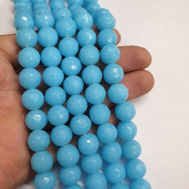 Jade agate faceted Aqua strand, 26+ beads, 14-15 inch, 2 lines, 10mm