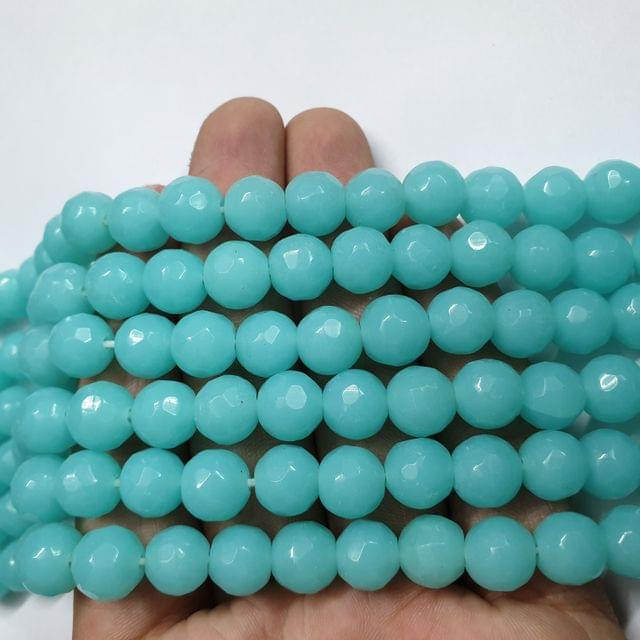 Jade agate faceted aqua strand, 32+ beads, 14-15 inch, 2 lines, 10mm