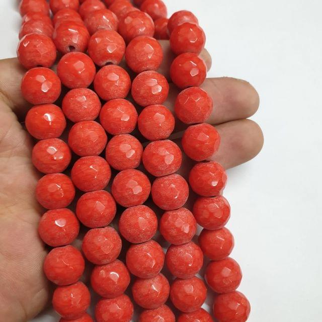 Jade agate faceted red strand, 26+ beads, 14-15 inch, 2 lines, 10mm