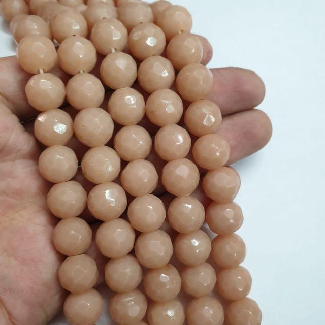 Jade agate faceted peach strand, 26+ beads, 14-15 inch, 2 lines, 10mm