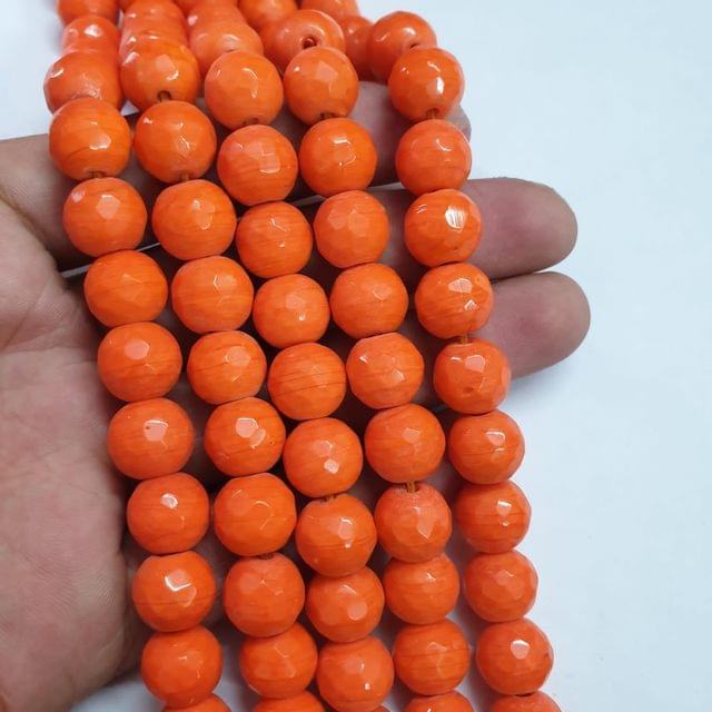 Jade agate faceted orange strand, 26+ beads, 14-15 inch, 2 lines, 10mm