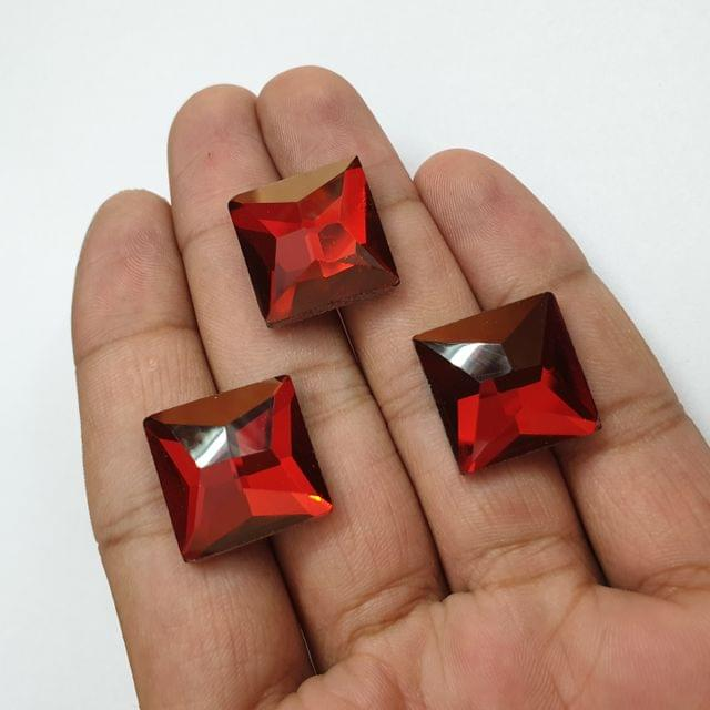 Red Faceted Flat Back Loose Glass Beads, 6 pcs, 18mm