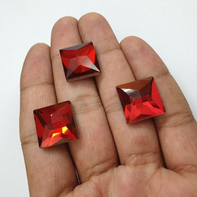 Red Faceted Flat Back Loose Glass Beads, 6 pcs, 15mm