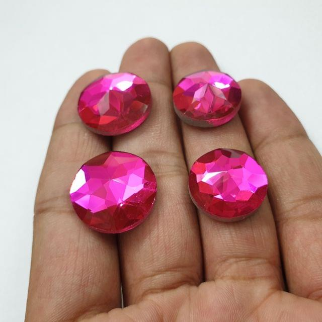 Pink Round Faceted Flat Back Loose Glass Beads, 6pcs (3 pcs of each size), 18&20mm