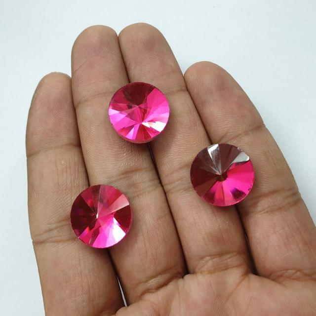 Pink Round Faceted Flat Back Loose Glass Beads, 6pcs, 17mm