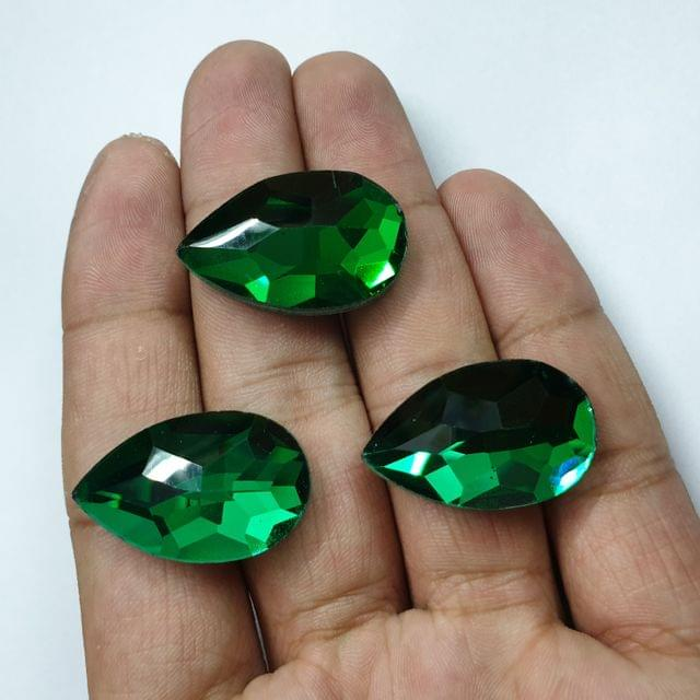Green Teardrop Faceted Flat Back Loose Glass Beads, 6pcs, 28x18mm