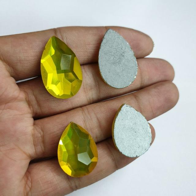 Yellow Teardrop Faceted Flat Back Loose Glass Beads, 6pcs( 3pcs of each size), 24x18mm & 28x18mm