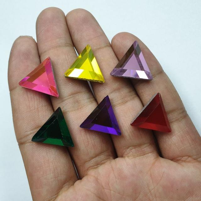 Multicolor Triangle Faceted Flat Back Loose Glass Beads, 6pcs( 1pc of each color), 16mm