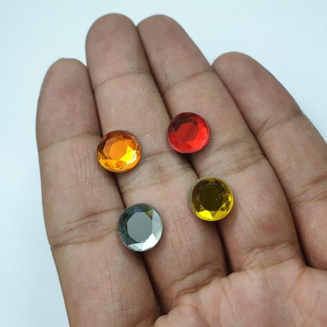 Multicolor Round Faceted Flat Back Loose Glass Beads, 4pcs( 1pc of each color), 10mm