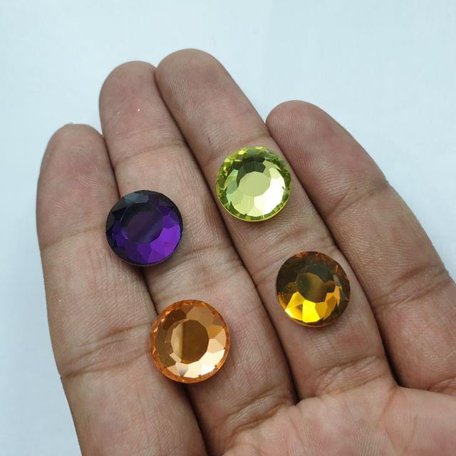 Multicolor Round Faceted Flat Back Loose Glass Beads, 4pcs( 1pc of each color), 14mm