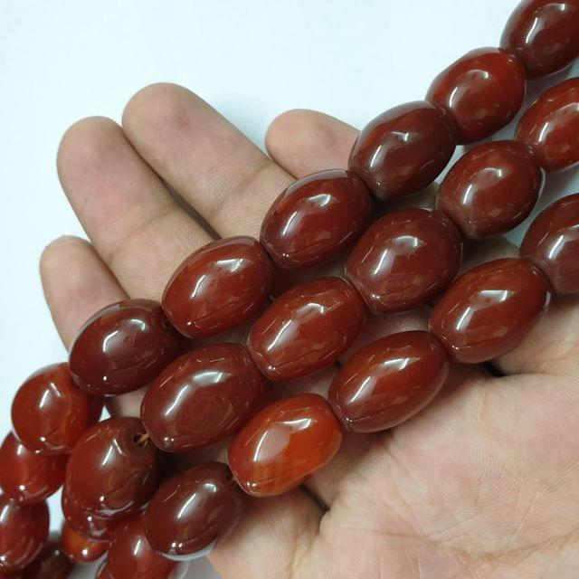 Drum Barrel Brownish Smooth Natural Onyx Strand, 18+ beads, 12-13 inch, 1 line, 20x14mm