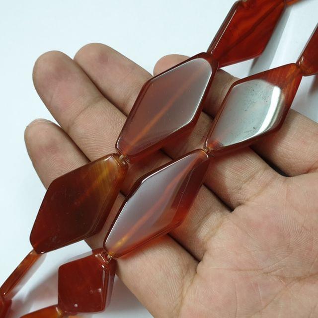 Diamond Shape Brownish Smooth Natural Onyx Strand, 9+ beads, 13-14 inch, 1 line, 44x22mm