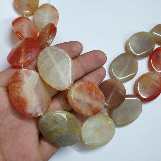 Oval Multicolored Smooth Natural Onyx Strand, 9+ beads, 13-14 inch, 1 line, 38x30mm