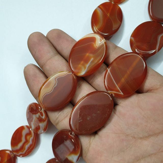 Oval Shaded Brownish Smooth Natural Onyx Strand, 10+ beads, 13-14 inch, 1 line, 35x24mm