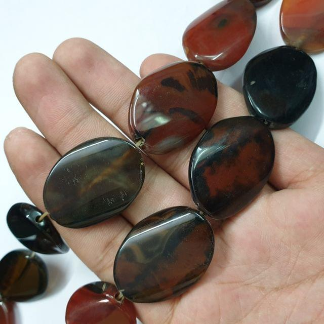 Oval Dark Brownish Smooth Natural Onyx Strand, 10+ beads, 13-14 inch, 1 line, 35x25mm