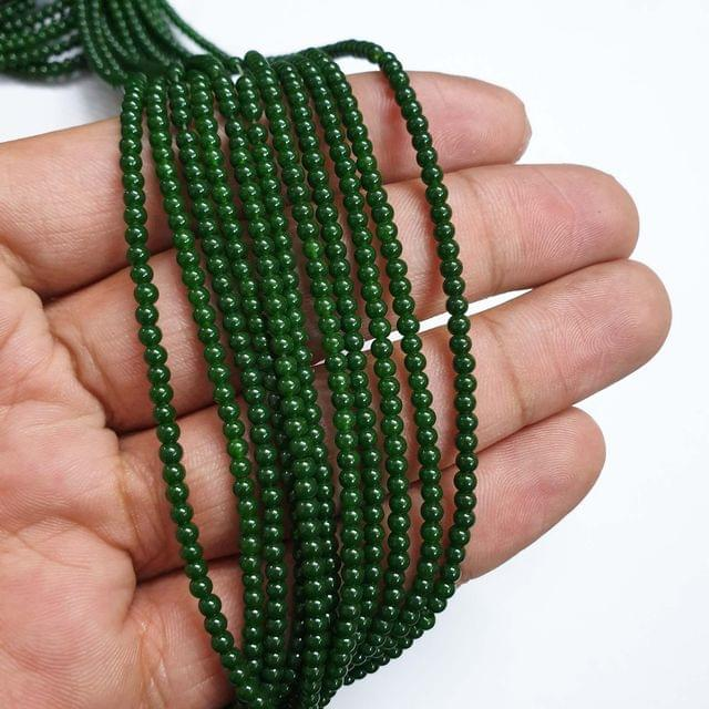 Green Round Shape Glass Pearl Beads, 335+ beads in each strand, 32-34 Inches, 4 Lines, 2.5mm