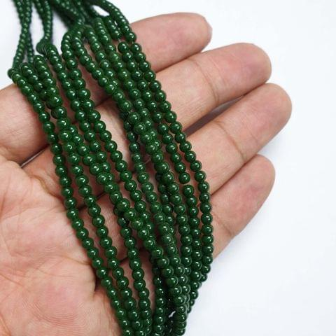 Green Round Shape Glass Pearl Beads, 275+ beads in each strand, 32-34 Inches, 4 Lines, 3mm