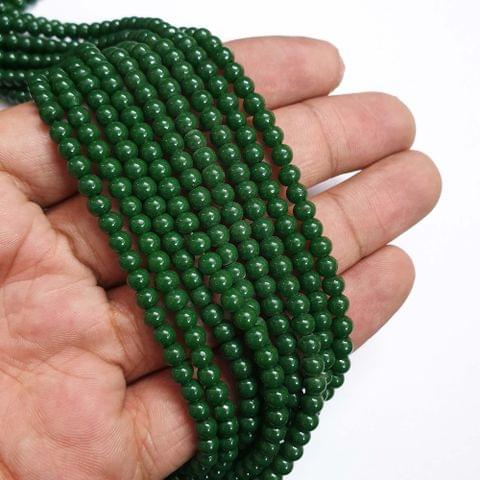 Green Round Shape Glass Pearl Beads, 200+ beads in each strand, 32-34 Inches, 4 Lines, 4mm