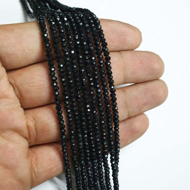 Black Faceted Rondelle Shape Glass Beads, 190+ beads in each strand, 16-17 Inches, 4 Lines, 2.5mm