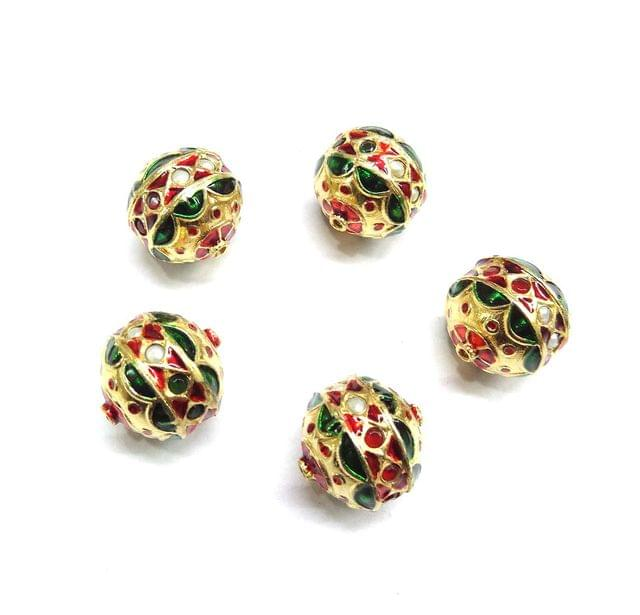 Jadau Meenakari Beads For Jewellery Making, 5pcs, 19x18mm