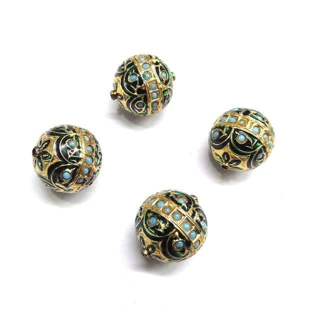 Turquoise Jadau Green Meenakari Beads For Jewellery Making, 3pcs, 21x19mm