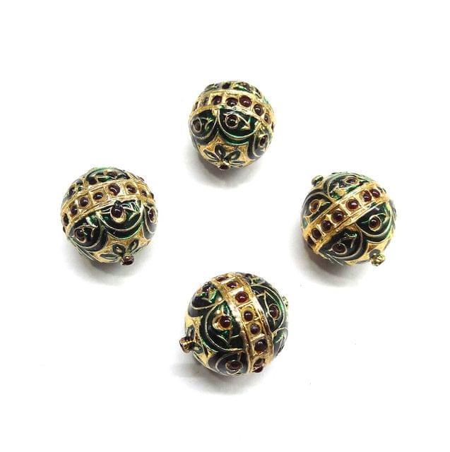 Red Jadau Green Meenakari Beads For Jewellery Making, 3pcs, 21x19mm