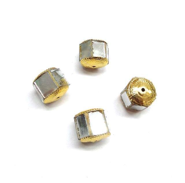 White Jadau Beads For Jewellery Making, 5pcs, 17mm
