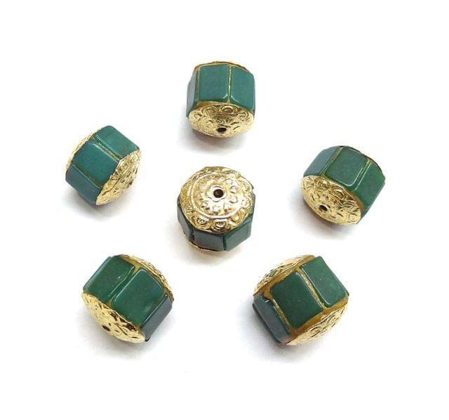 Green Jadau Beads For Jewellery Making, 5pcs, 16mm