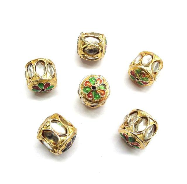 White Jadau Meenakari Beads For Jewellery Making, 4pcs, 20mm