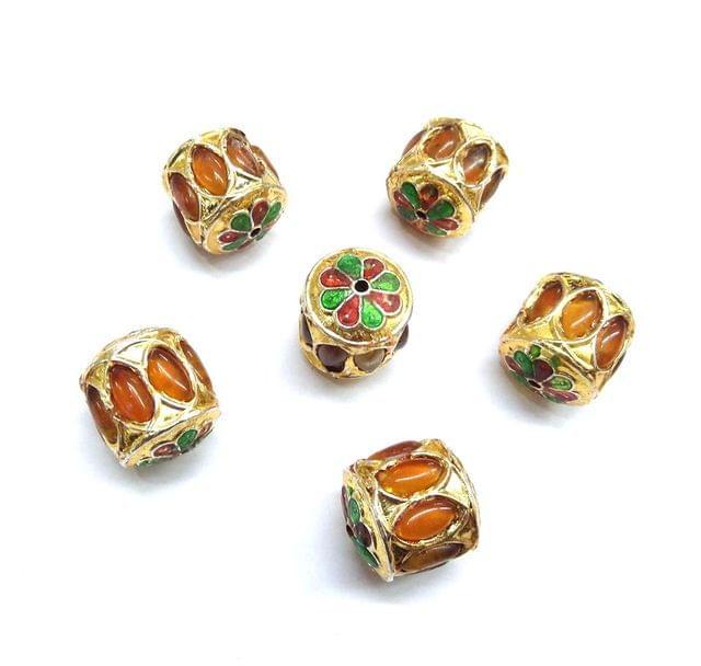 Yellow Jadau Meenakari Beads For Jewellery Making, 4pcs, 20mm