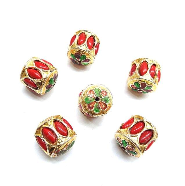 Red Jadau Meenakari Beads For Jewellery Making, 4pcs, 20mm