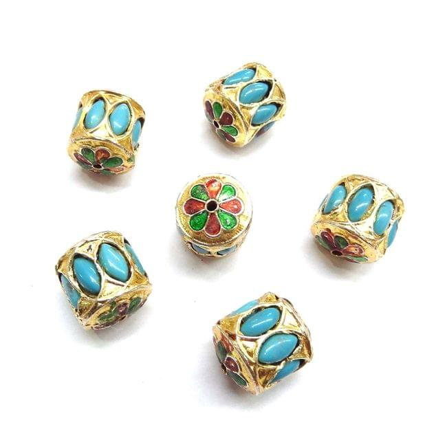 Turquoise Jadau Meenakari Beads For Jewellery Making, 4pcs, 20x18mm