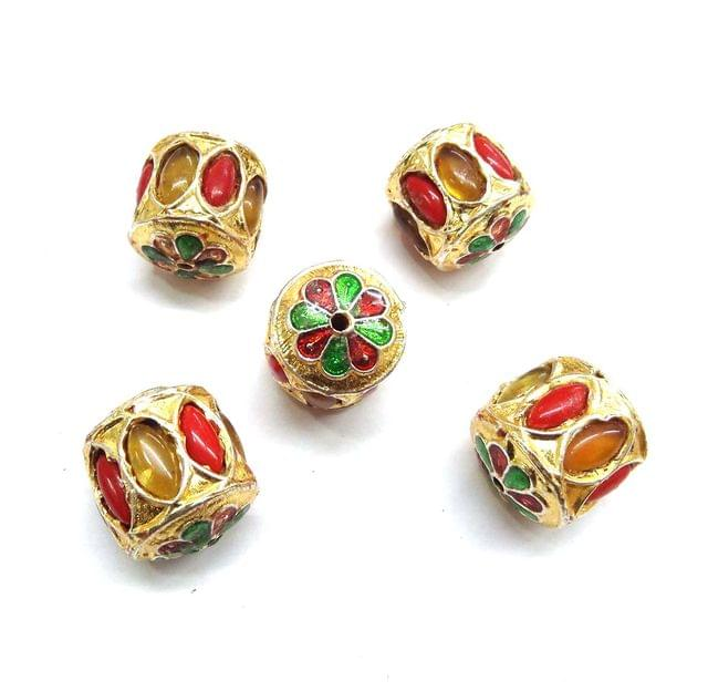 Red & Yellow Jadau Meenakari Beads For Jewellery Making, 4pcs, 20x18mm