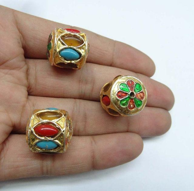 Multi Jadau Meenakari Beads For Jewellery Making, 4pcs, 19mm