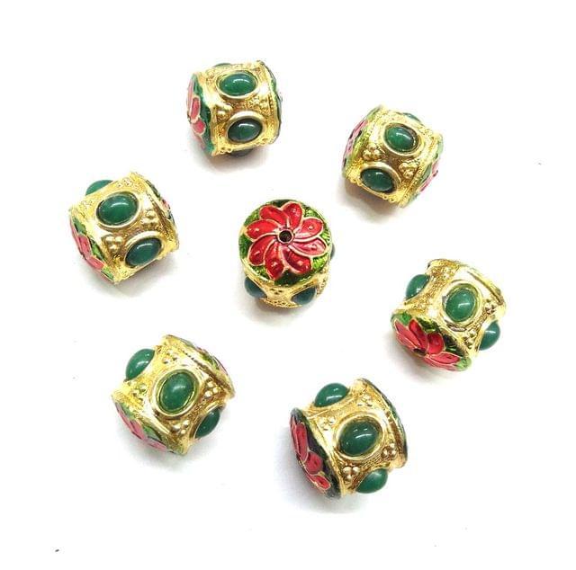Green Jadau Meenakri Beads For Jewellery Making, 5pcs, 16x15mm